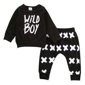 Wholesale- 2016 New baby boy girl clothes set unisex cotton long-sleeved letter wild boy T-shirt+pants newborn baby clothing set