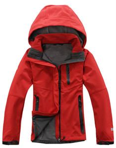 Открытый зимние Женские толстовки SoftShell куртки мода Apex Bionic ветрозащитный водонепроницаемый тепловой для Туризм Отдых лыжный вниз спортивная одежда