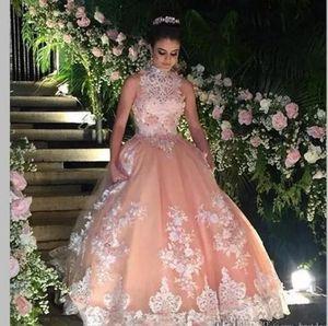 Doce 16 Ano de Renda Champanhe Quinceanera Vestidos 2017 vestido debutante 15 anos vestido de Baile de Alta Neck Sheer Prom Dress For Party