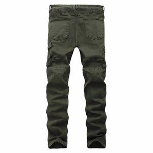 Wholesale- 2020 neue Art Männer Jeans Taschen mit Reißverschluss Biker Jeans Gerade geschnittene Grün Motorrad-Jeans-freies Verschiffen