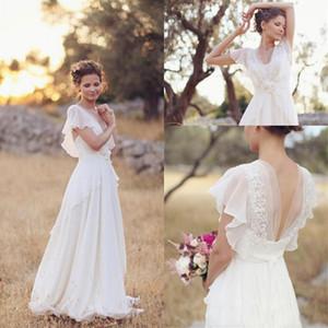 2019 robes de mariage de Boho modeste plage v cou une ligne cap manches robes de mariée robes robes de soirée enceintes taille personnalisée