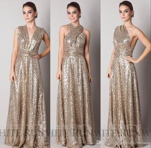 2016 Barato Sparkly Convertiable Ouro Lantejoulas Vestido De Dama De Honra Uma Linha Até O Chão Longo Feito Sob Encomenda Da Dama de Honra Evening Prom Dress