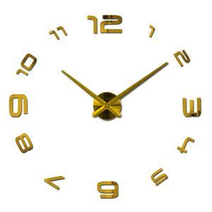 Wholesale-2016 new watch clock clocks home decoration klok acrylic miroir large wall stickers sale Quartz Modern Metal free shipping