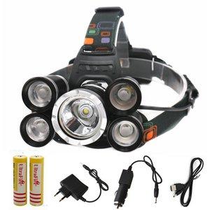 5Led 16000LM faros XML 1T6 + 4 * XPE Faro de 4 modos con zoom USB recargable de destello de la lámpara principal ligh luz de la antorcha 18650 + AC del coche / Charg