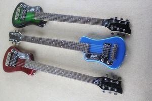 Пользовательские Left Handed Хофнер Shorty Путешествия гитара Переносной Мини электрическая гитара с хлопковой Gig сумка (темно-зеленый / красный металлик / синий металлик)
