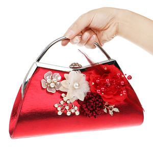 Women Clutches Purses Bags Flower Beaded Prom Wedding Evening Handbag Flower Evening Clutch Bags Pearl Beaded Handbag