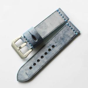 Marron Rouge Bleu Vert vintage bandes en cuir véritable bracelet de montre en acier massif Boucles 20mm 22mm 24mm 26mm 2pcs / Lot