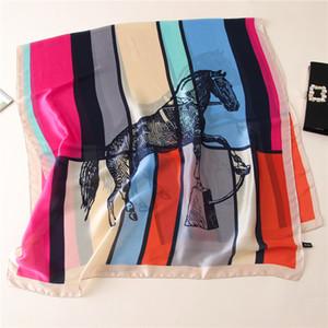 Impresión del caballo grande de seda puro de la bufanda de las mujeres digitales de seda Chales Estolas suave Caballo de la bufanda para damas