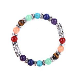 women men's 7 Chakra Healing Balance Beads Bracelet Antique Buddha Prayer Natural Stone Yoga Bracelet bangle Cuffs will and sandy