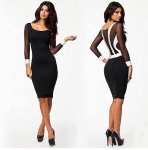 Atacado frete grátis mulheres sexy magro bodycon ver throught malha tarja OL manga comprida vestido preto