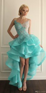 Mint Green High Low Homecoming Vestidos 2019 Venta caliente Nuevo Sexy Backless Lace Organza Ruffled Junior Graduation Cocktail Prom Gowns H56
