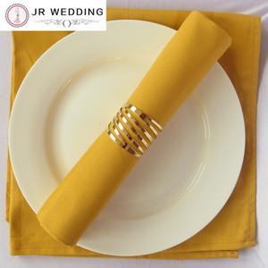 Vente en gros - 100pcs Vente en gros de serviettes de table creuses Anneaux de serviettes en or pour les porte-serviettes décoratifs pour mariages