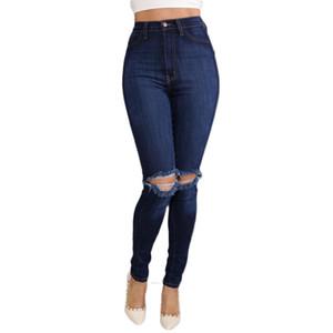 2017 Yaz Kadın Rolling Yukarı Kadın Skinny pantolonlar İnce Pantolon İçin Kadınlar Yüksek Bel Kadın Delik Jeans için Jeans Ripped Toptan