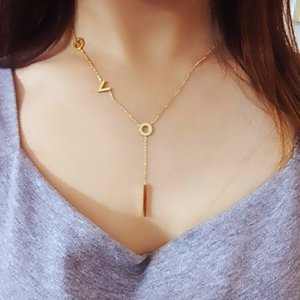 Rose gold plated letter Love Pendant Necklaces Stainless Steel Fashion Jewelry For Women Body Chain Statement Choker