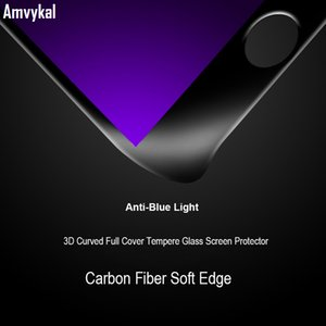 3D Full Cover Soft Edge закаленное стекло для iphone 11 pro XR XS Max 6s 7 8 Plus Anti-Blue Purple Light Screen Protector