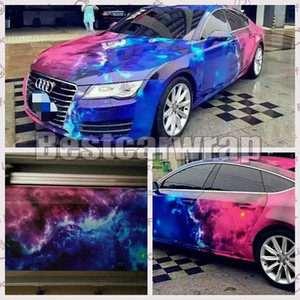 2017 New Galaxy Printed Vinyl Car Wrap Film With Air Free wrap Stickerbomb Car Styling Union graphics Size 1.52x10M 15M 30M