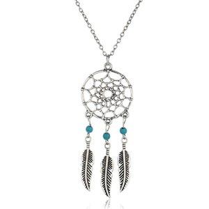 Оптовая продажа-древний серебряный цвет сплава девушка Chian ожерелья Для женщин старинные Корея Ловец снов листья ожерелье ювелирные изделия ошейники