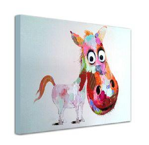 Animais dos desenhos animados Imagem Pintura na Lona Pintados À Mão Cavalo Arte Da Parede para a Decoração Da Parede Para Casa Sem Moldura