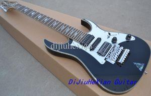 Custom 7 Strings UV777 Chitarra elettrica nera Floyd Rose Tremolo Bridge Abalone Diamond Fretboard Inlay H S H Pickups
