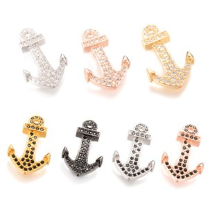 7 Color Cubic Zirconia Connector ECO-Friendly Anchor Shape Micro Pave Charm, Connector, ICSP006, Size 27.9*5 mm