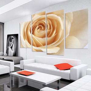 거실 프레임이없는 오일 모듈 그림 (없음 프레임)의 경우 꽃 벽 그림을 그리기 4 PCS 오렌지 장미 꽃 캔버스