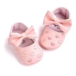 Venta al por mayor- Zapatillas de cuna para niña pequeña Bebé recién nacido Bowknot Suela blanda Prewalker Zapatillas 0-18M Envío de la gota