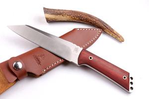 Oferta especial cuchillo de caza recto 100% Original Wild Boar Survival cuchillo de cuchilla 9Cr18 58HRC cuchilla de raso cuchillos de cuchilla con funda de cuero