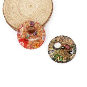 Pendenti rotondi di vetro di arte fatti a mano di Millefiori 3D con la sabbia dell'oro per i colori della miscela della collana 12pcs / pack MC0020