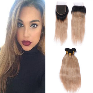 Brazilian 1B 27 Ombre Virgin Hair Bundles With Lace Closure Two Tone 1B Blonde Ombre Straight Human Hair Weaves With Top Closure