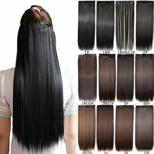 """Sara Kadınlar Uzun Düz Saç Uzatma Klip Moda Sentetik Düz Saç Parça Uzantıları Postiş 60 CM, 24 """""""
