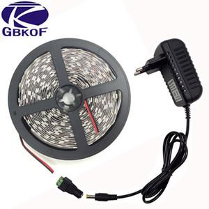 1 Paketi 5 M Tek Renk Beyaz / Sıcak beyaz 300 LEDs SMD 5050 LED Şerit ışık + DC Dişi Adaptör + DC 12 V 3A Güç Kaynağı Adaptörü