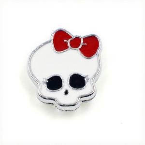 50pcs al por mayor de aleación de zinc cráneo de Halloween con encantos pajarita diapositiva de 8m m DIY Accesorios Fit 8mm collares para mascotas pulsera SL165
