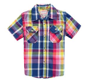 Yeni Boys bebek Izgara Vintage pamuk Çift kollu casual gömlek çocuk uzun kollu gömlek üst toptan