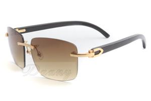 2019new высокого качества производитель бескаркасных квадратных очки, 3524012-A стиль моды очки, природные черные рожки, солнцезащитные очки