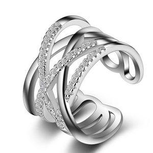 Ladies double line mosaic diamond simple ring