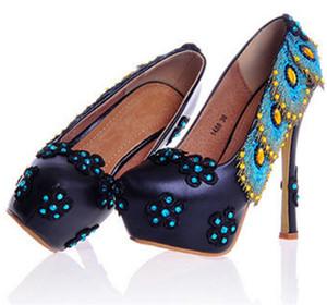Tondo Scarpe vintage per donna Scarpe lucido con fiori Floriation Glitter con paillettes Scarpe da sposo chiuse con dita chiuse