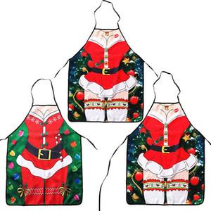 Avental de natal Sexy Papai Noel Avental Avental de Cozinha de Poliéster Feliz Natal Festa Suprimentos Xmas Decoração IC553