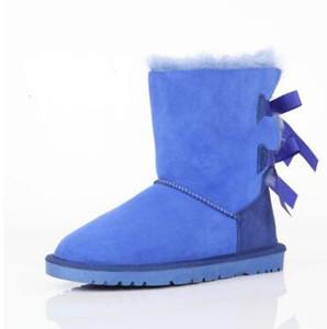 3280FREE SHIPPING 2017 Natal NOVA Austrália clássico botas de inverno altas de couro real Bailey Bowknot mulheres bailey arco botas de neve sapatos boo