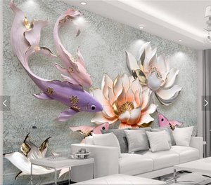 Estilo chino Waterlily Fish Vintage Photo Mural Wallpaper Sofá TV de fondo Mural Landscape Wall Decor Wallpaper-roll-size