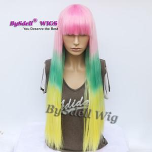 Harajuku пастель Ombre Радуга цвета парик синтетические длинные шелковистые прямые розовый Ombre зеленый желтый цвет парики с аккуратные челки дешевые парики