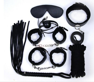 7 pcs Leather plush SM Restraints Bondage Set Fetish Collar Whip Rope Ball Mask Handcuff Sex Products juguetes sexuales