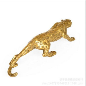 Chino Folk Bronze Copper Lucky Money Leopard Cheetah Art Statue Figuras 53cm