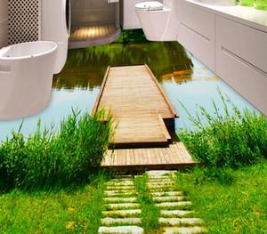 Azulejos de piso 3d Adhesivo personalizado rollos de vinilo Tablero del río Piso 3d papel tapiz estereoscópico azulejo pisos cocina