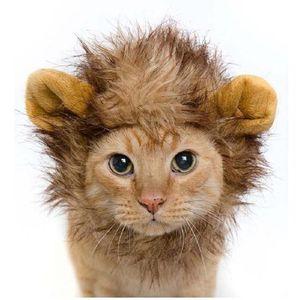 Hut für Hunde / Katzen Emulation Lion Haar Mane Ears-Kopf-Kopf Herbst-Winter-Dress Up Kostüm Muffler Schal Pet Tier Hüte G846