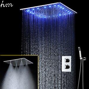 20 인치 주도 샤워 꼭지 세트 온도 조절 스파 안개 비가 헤드 샤워 천장 설치