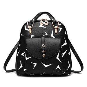 Backpack bag 2017 new tide female shoulder bag new student fashion print cartoon cute backpack Ladies Women Leather