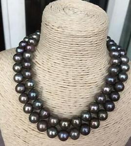 """NEUE FEINE PERLE SCHMUCK atemberaubende 10-11mm ral runde schwarz grüne mehrfarbige Perlenkette 38 """"14k"""