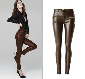 Vente en gros-Faible taille PU Skinny Jeans Femmes Haute Qualité Faux Zippers Enduit Pantalon Femme Lavé Café Imitation Cuir Vaqueros Mujer