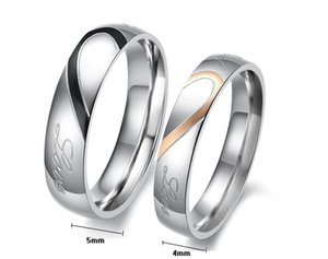 MCW Sweethearts & Lover's Style Wedding Band Rings Titanium Steel Heart Shape Real Love Letters Ring for Engagement Jewelry