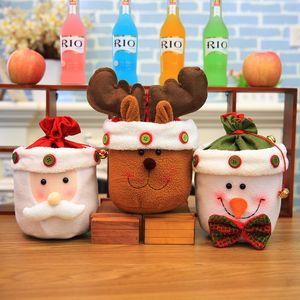 2017 El más nuevo bolso de regalo de bolsas de dulces de Navidad con campana linda bolsa de alces de muñeco de nieve de Santa Claus para appple